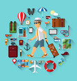 smiling cartoon tourist with set travel icons vector image