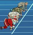 sports race with santa claus military astronaut vector image vector image