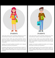 students boy and girl cartoon style web posters vector image vector image