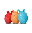 Three eggs - rabbits vector image vector image