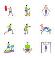 training apparatus icons set cartoon style vector image vector image