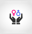 two hands protecting gender equality vector image