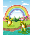 Two playful turtles at the pond with a rainbow in vector image vector image