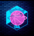 vintage basketball emblem glowing neon sign on vector image vector image