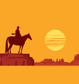 western landscape with silhouette a lone rider vector image