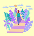 young woman with backpack walking alone vector image