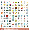 100 idea reclame icons set flat style vector image vector image