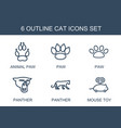 6 cat icons vector image vector image