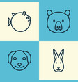animal icons set collection of bunny puppy vector image