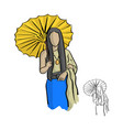 asian woman wearing thai traditonal style cloth vector image