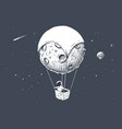astronaut travels by on aerostat made of moon vector image vector image
