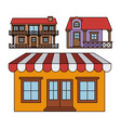 background with colorful set of balcony houses and vector image