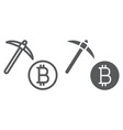 bitcoin mining line and glyph icon money vector image vector image