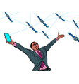 black businessman and global satellite internet vector image