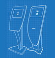 blueprint of two promotional information kiosk vector image vector image