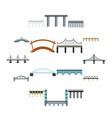 bridge icons set flat style vector image vector image
