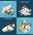 business strategy isometric icon set vector image vector image
