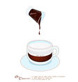 Cappuccino Coffee with More Milk Foam in Glass Cup vector image