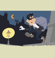 cartoon thief in mask with sack funny people vector image vector image