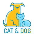 cat dog flat retro vector image vector image