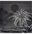 chalk palm tree and ocean sketch vector image vector image