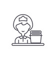 cleaning lady line icon concept cleaning lady vector image