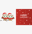 couple of owls with santa claus hat on a branch vector image vector image