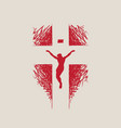 creative religious banner with crucified jesus vector image