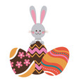 cute easter bunny with colored eggs decorative vector image vector image