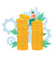 employee holding coins dollars currency vector image vector image