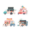 food trucks city mobile cafes people buy vector image vector image