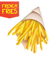 french fries potatoes paper bag container vector image vector image