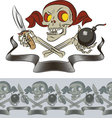 furious skull pirate vector image vector image