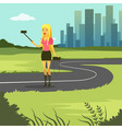 girl taking selfie photo while walking on city vector image vector image