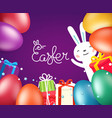happy easter greeting card template with eggs vector image