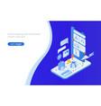 horizontal web banner with isometric smartphone vector image vector image