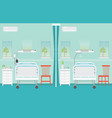 hospital ward room interior with beds vector image vector image