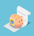 isometric piggy bank full money with shield on vector image