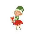 lovely happy girl in elf costume holding gift box vector image