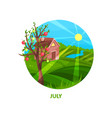 nature landscape with small house meadow apple vector image vector image
