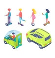 people driving on eco cars and riding boards set vector image vector image
