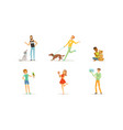 people with their pets men and women characters vector image