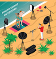 photo shooting outdoors isometric composition vector image vector image