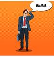 Pop Art Doubtfull Businessman with Briefcase vector image