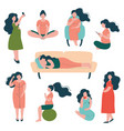 pregnant woman lifestyle set happy brunette vector image