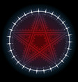 Red five pointed pentagram star with ornament
