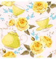 Seamless teapots cups and flowers vector image vector image