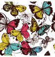 seamless wallpaper with colorful butterflies vector image