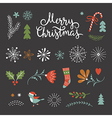 set christmas graphic elements on a black backg vector image vector image
