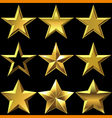 set of golden shiny stars bulk vector image